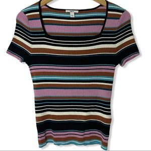 Bar III striped short sleeve ribbed knit top L new